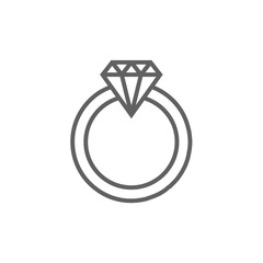 Diamond ring line icon.
