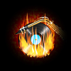 vinyl record on fire and saxophone