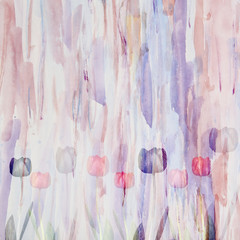 Abstract floral watercolor background with tulips, double exposu