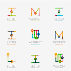 Set of linear abstract geometrical icons and logos