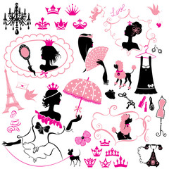 Fairytale Set - silhouettes of princess girls with accessories,
