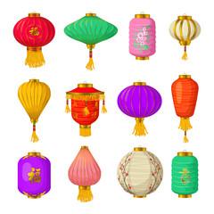 Chinese paper lanterns icons set, cartoon style