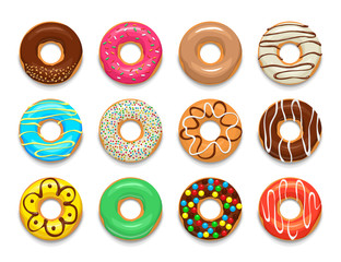 Donuts icons set, cartoon style
