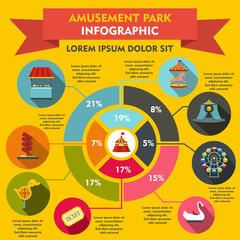 Amusement park infographic elements, flat style