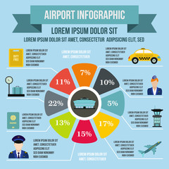 Airport infographic elements, flat style