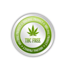 Marijuana hemp leaf icon with title THC FREE on white background
