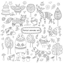 Collection of doodle forest animals and trees for design