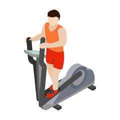 Man on elliptical walker icon, isometric 3d style