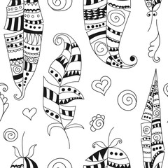Seamless pattern with doodle feathers