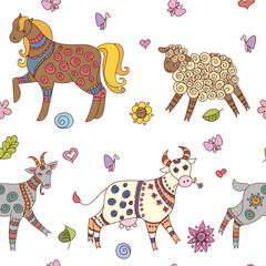 Doodle farm animals seamless pattern