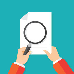 magnifying glass checking file