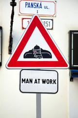 Sign Man at work in Bratislava, Slovakia