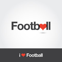 I love Football. Editable vector logo design.