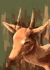 illustration digital painting animal deer