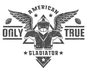 American football,American gladiator only true black and white style for print t shirt.