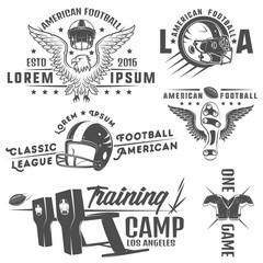 Set of American football emblems and logo.