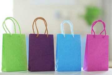 Shopping bags of different colours in the mall