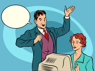 Retro businessman policies Secretary dictates the text