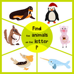 Funny learning maze game, find all 3 cute wild animals with the letter P, Arctic penguin, sea bird Pelican and domestic pigs. Educational page for children. Vector