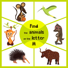 Funny learning maze game, find all 3 cute wild animals with the letter M, field mouse, macaque monkey tropical and insect-eating mole. Educational page for children. Vector