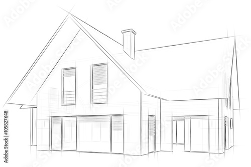 architecture sketch drawing house stockfotos und lizenzfreie bilder auf bild. Black Bedroom Furniture Sets. Home Design Ideas