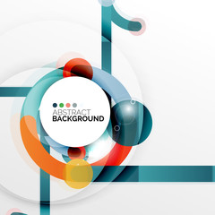 Colorful flat design abstract background. Swirl and circle shaped lines on white