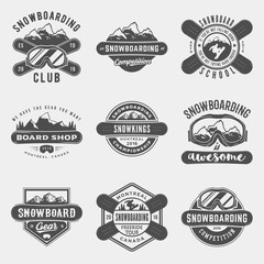 vector set of snowboarding logos, emblems and design elements