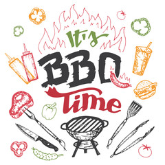 It's barbecue time. Hand drawn bbq elements set in sketch style isolated on white background