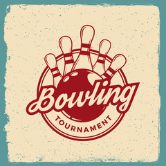 bowling emblem. logotype template on retro grunge background