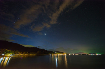 Aluminium Prints Dam Star and comet in the sky at the Khanom beach of Thailand, Nakhon Si Thammarat province.