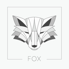 Abstract fox head emblem icon design with elegant line shapes style. Vector illustration.