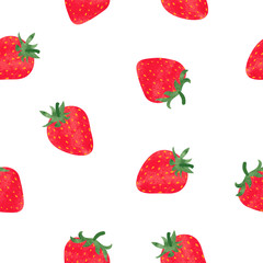 Bright watercolor strawberry isolated on white. Seamless pattern. Vector background.