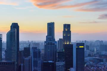 Fototapeten Singapur Singapore skyscrapers at sunset