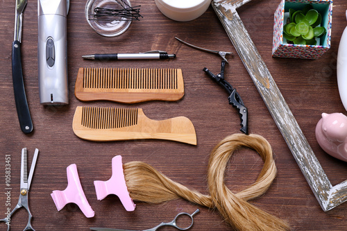 Frame With Strand Of Hair Barber Tools Equipment And Cosmetics On