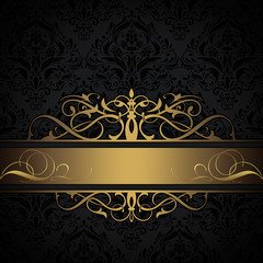 Black and gold decorative background.