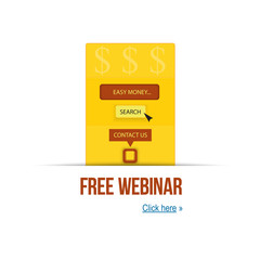 vector illustration concept of free webinar and easy money. For your presentation and website. Template webinar poster