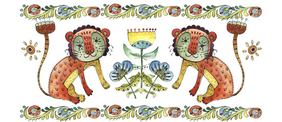 Ukrainian traditional folk, ethnic animal, raster version illustration