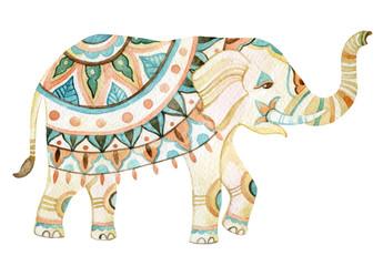Indian elephant watercolor illustration