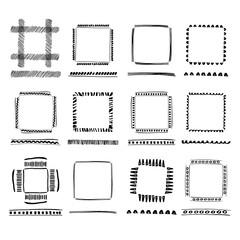 Set of Black Grunge ink Frames.