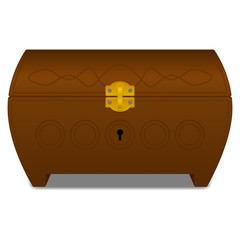 Vector brown casket with gold lock