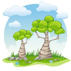 Two cartoon trees illustration