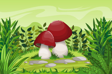 Illustration of cartoon mushrooms