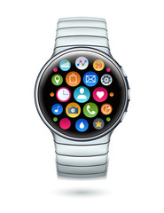 Realistic smart watch template vector illustration.