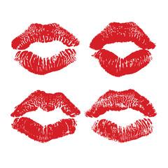Lipstick kiss isolated on white, lips set, design element.
