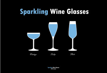 Sparkling wine glass silhouettes vector