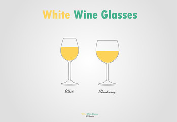 White wine glass silhouettes vector