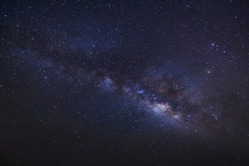 milky way on a night sky, Long exposure photograph, with grain