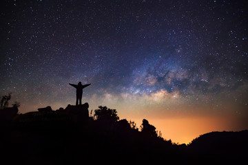 Milky Way Galaxy at Doi Luang Chiang Dao.Long exposure photograp