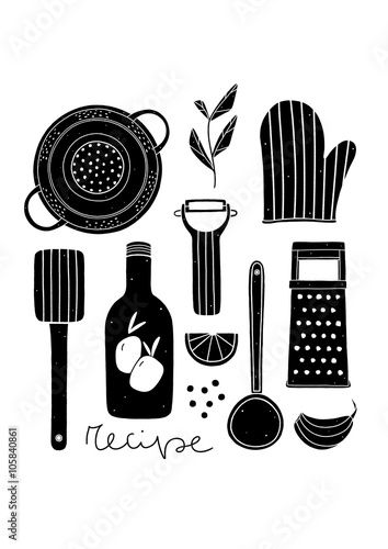 Black and white poster for kitchen hand drawn cooking illustration with kitchen utensils
