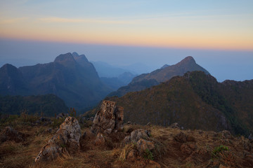 Landscape sunrise at Doi Luang Chiang Dao, High mountain in Chia
